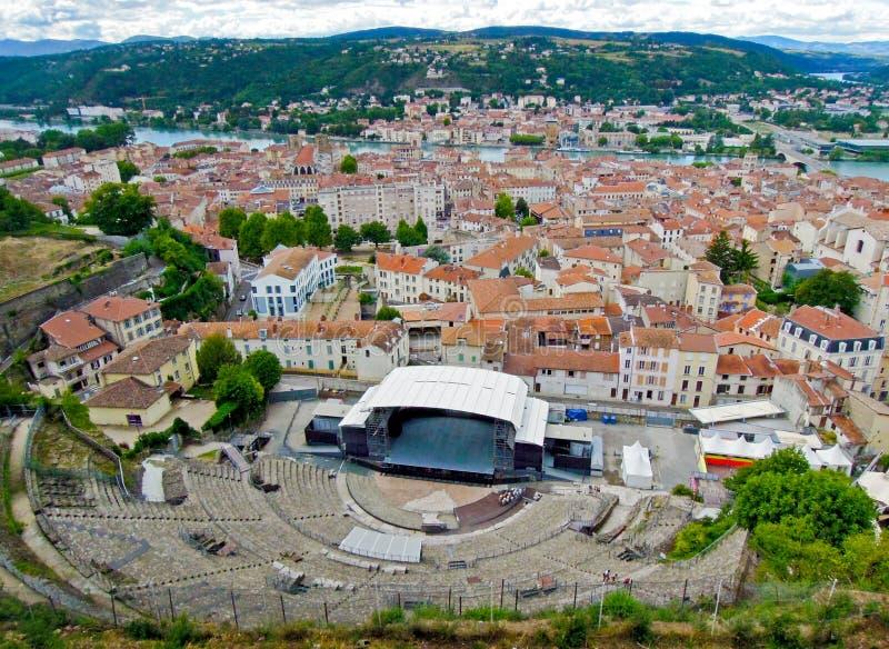 Anfiteatro romano na cidade velha de Vienne, França fotos de stock royalty free