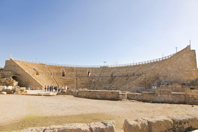 Anfiteatro romano no parque nacional Caesarea imagem de stock