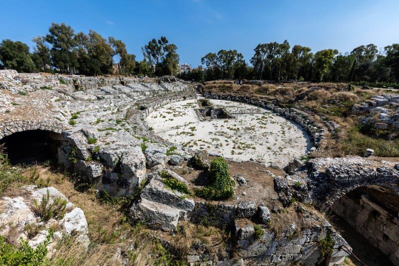 Anfiteatro romano a Siracusa, Sicilia fotografia stock libera da diritti