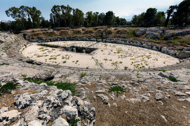 Anfiteatro romano a Siracusa, Sicilia fotografia stock