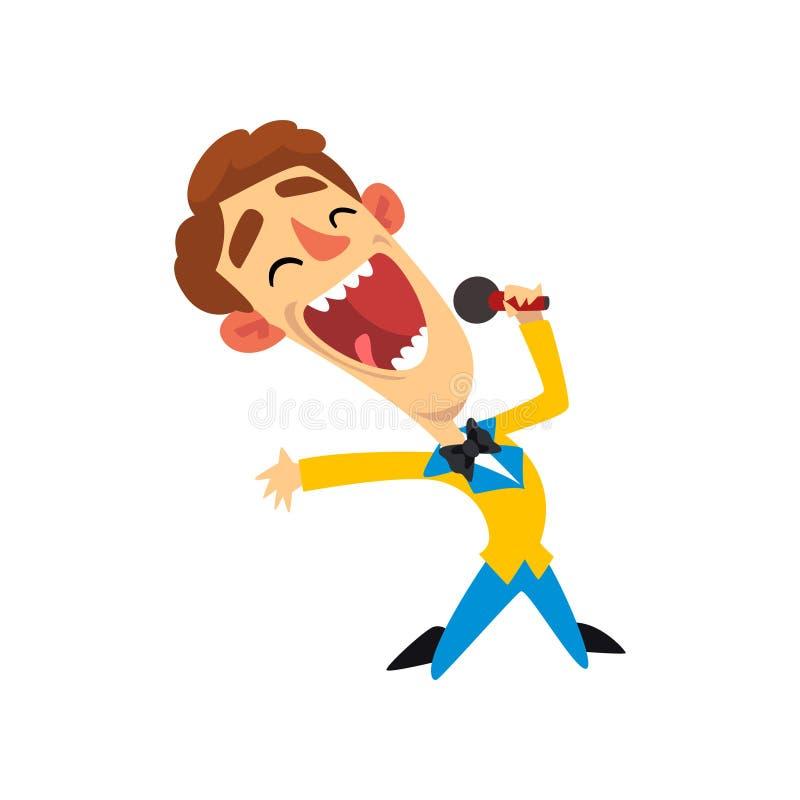 Anfitrión de la demostración, hombre alegre con el ejemplo del vector del micrófono en un fondo blanco libre illustration
