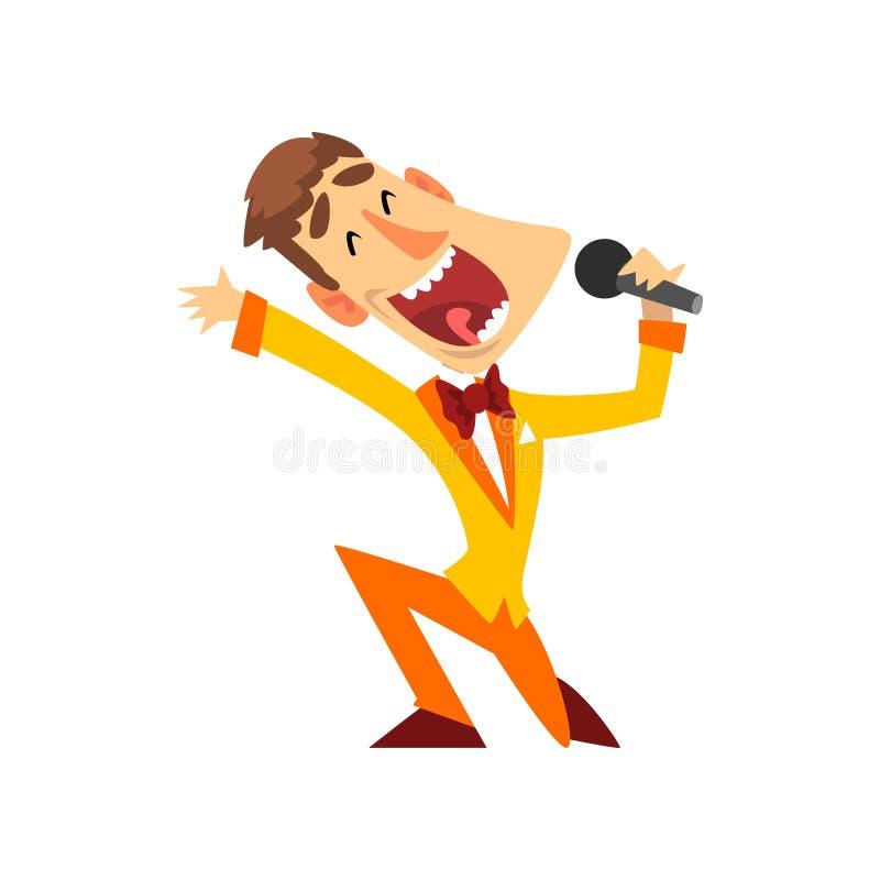 Anfitrión de la demostración de juego con el ejemplo del vector del micrófono en un fondo blanco ilustración del vector