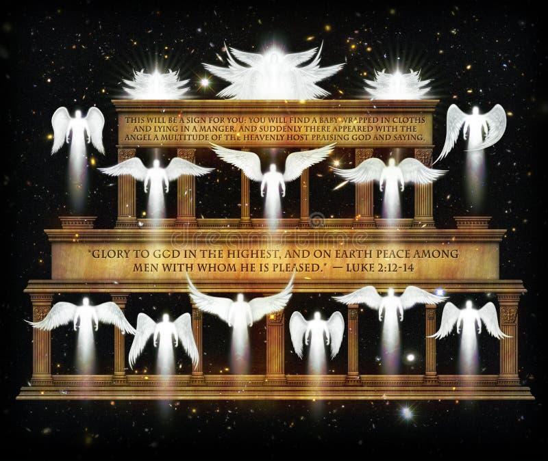 """Anfitrión de los ángeles Herald el nacimiento ejemplo de 3D del †de Cristo """" stock de ilustración"""