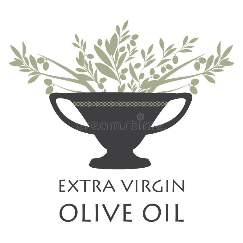 Anfora con i rami di ulivo Simbolo della cultura Mediterranea illustrazione di stock
