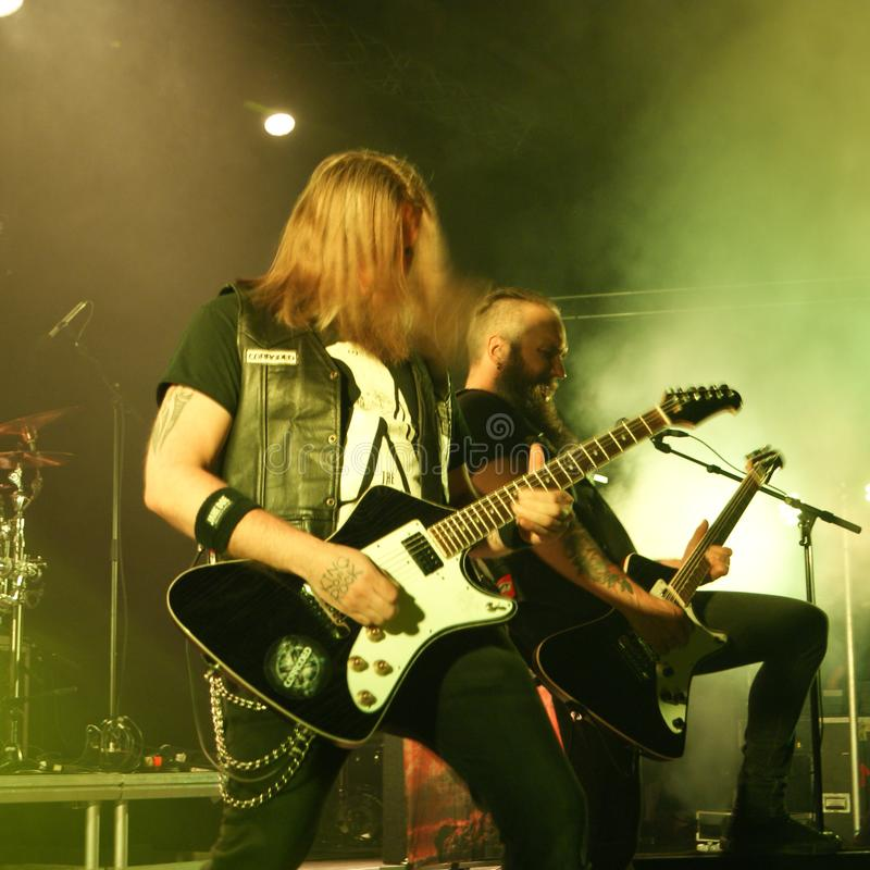Anfrätt metallmusikband från Sverige arkivfoto