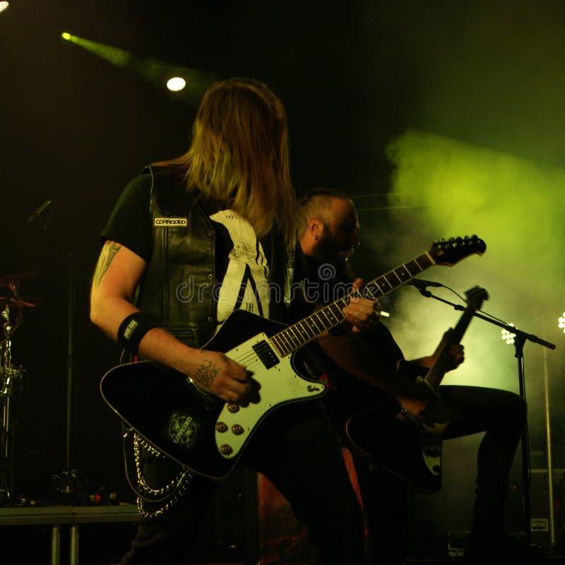 Anfrätt metallmusikband från Sverige royaltyfri foto