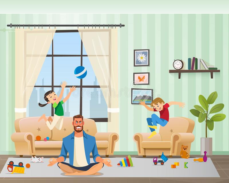 Anfryvader Meditating die, Kinderen rond spelen royalty-vrije illustratie