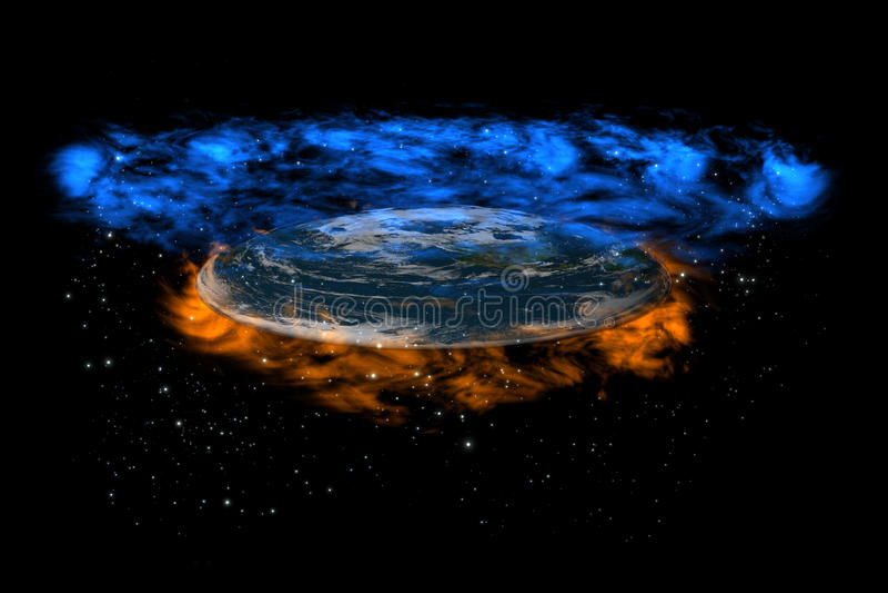 ang地球平面的天堂地狱透视图 皇族释放例证