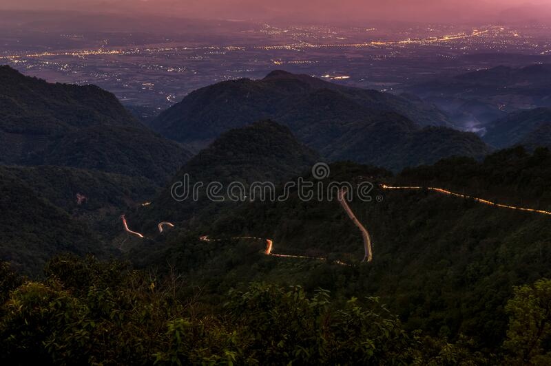Ang Khang Road. Tail light on the road up Ang khang. At dusk, from Mon Sone View Point, Chiang Mai Thailand, Long Exposure royalty free stock photography