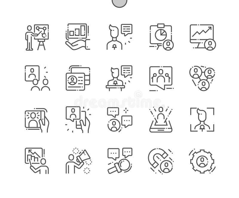 Angażować prezentacja Wykonującą ręcznie piksel Doskonalić wektor ikon 30 Cienką Kreskową 2x siatkę dla sieci Apps i grafika ilustracji
