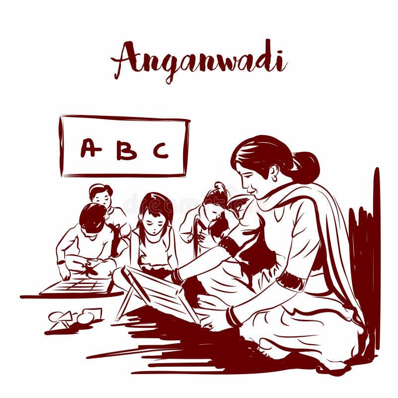 Anganwadi rular indisk skola skissa teckningen - vektor vektor illustrationer