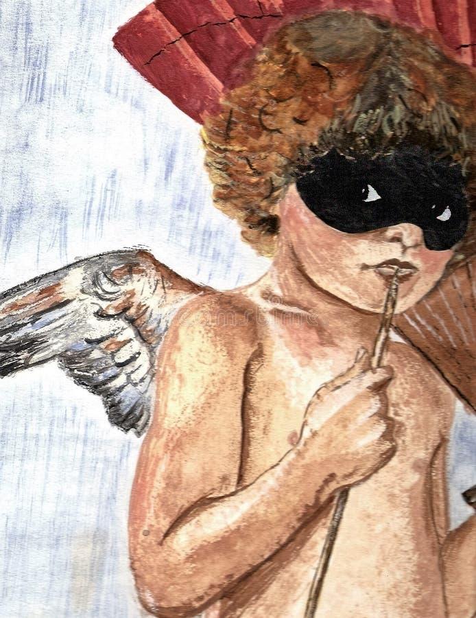 Ange à ailes avec le masque image libre de droits