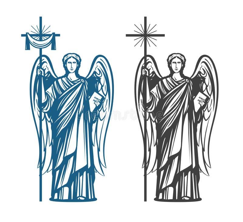 Ange, Arkhangel avec des ailes Bible, religion, croyance, concept de culte Illustration de vecteur de croquis de vintage illustration libre de droits