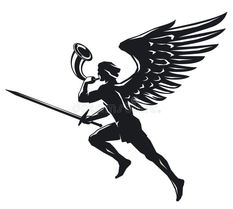 Ange avec l'épée et le klaxon illustration stock