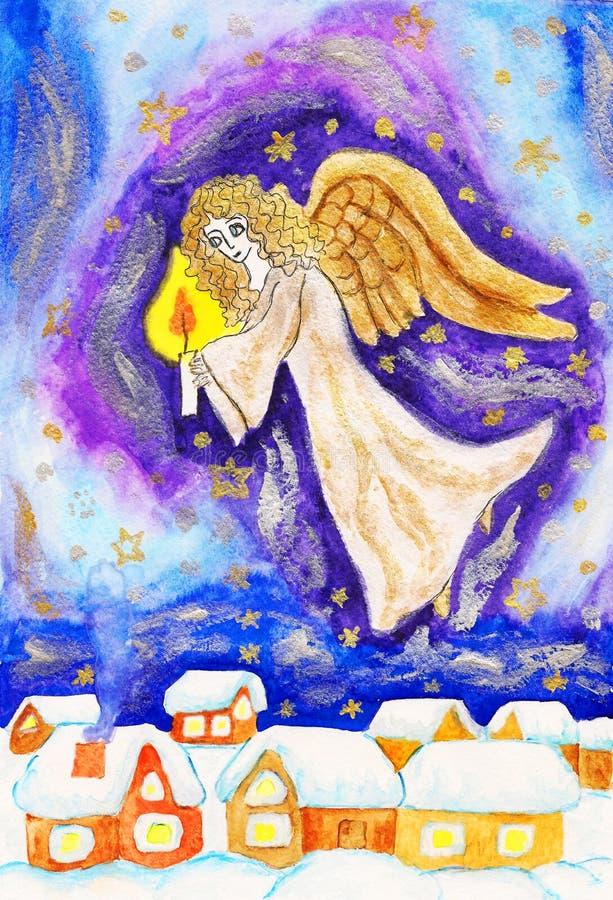 Ange avec la bougie, tableau peint de Noël illustration libre de droits