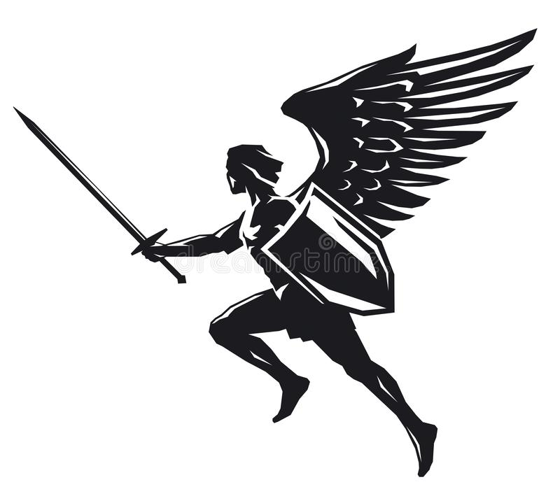 Ange avec le bouclier et l'épée illustration stock
