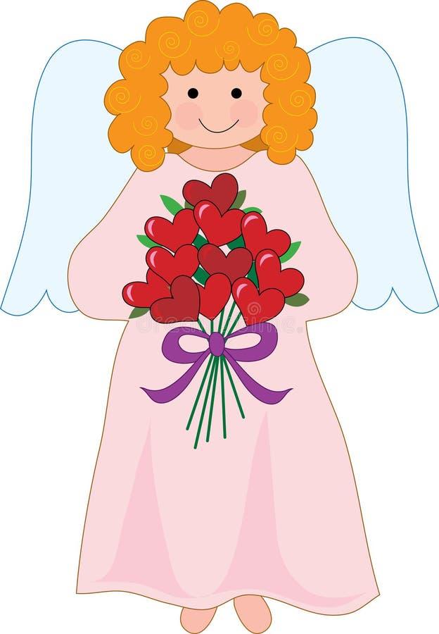 Ange avec le bouquet illustration stock