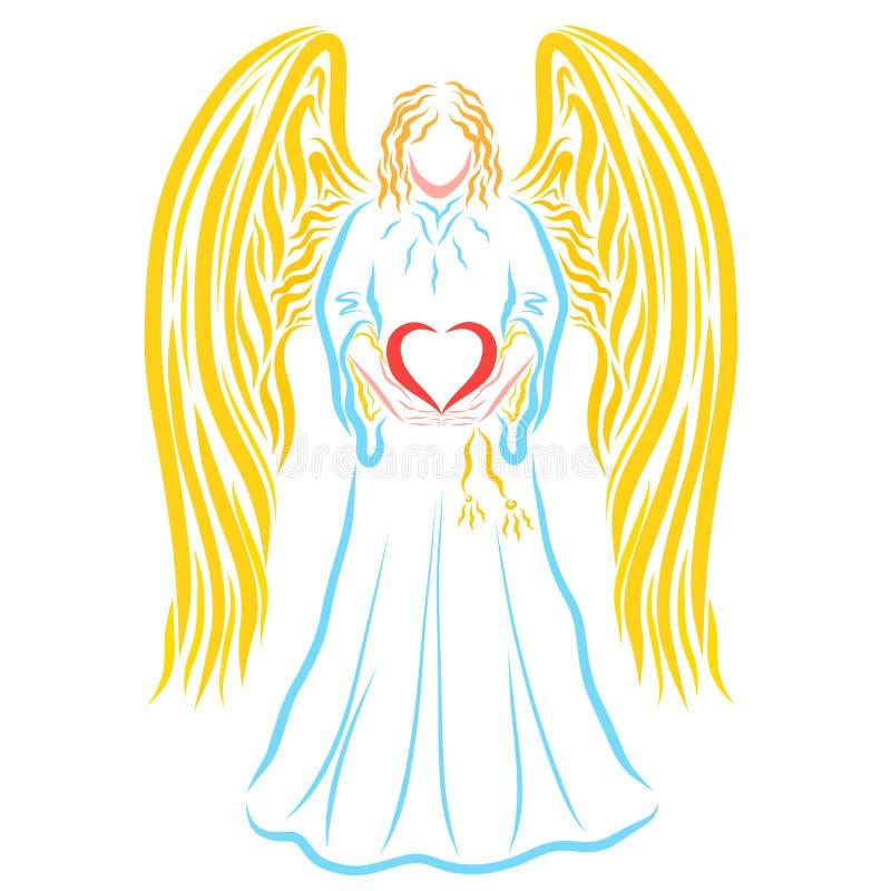 Ange avec le coeur dans des mains, modèle coloré sur le fond blanc illustration stock