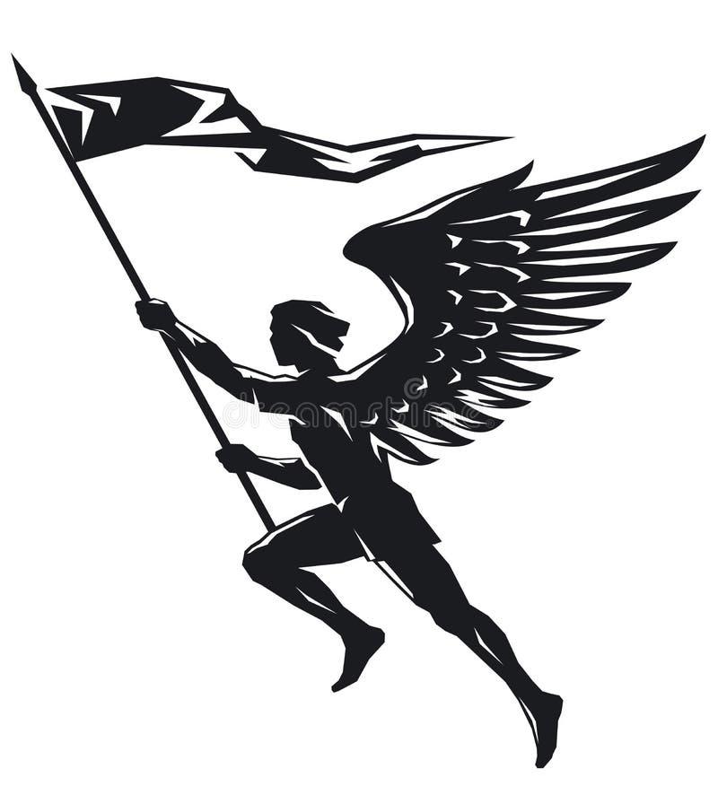 Ange avec le drapeau illustration de vecteur