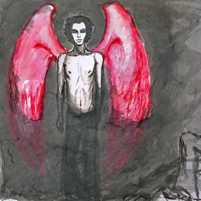 Ange avec les ailes rouges illustration de vecteur