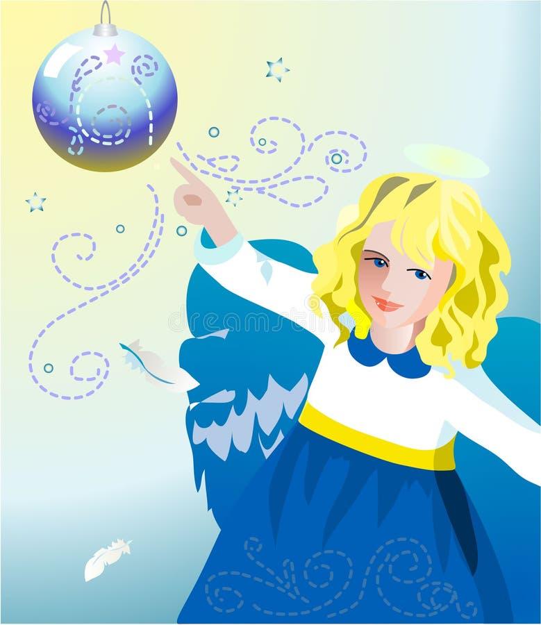 Ange bleu de Noël illustration de vecteur