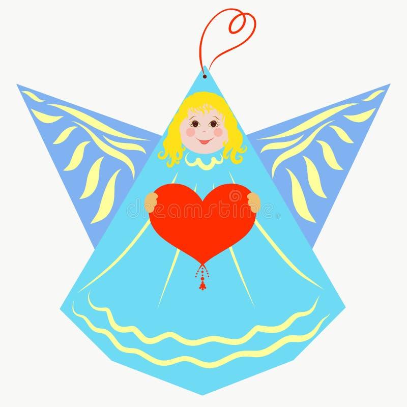 Ange bleu mignon avec un coeur dans des ses mains illustration libre de droits