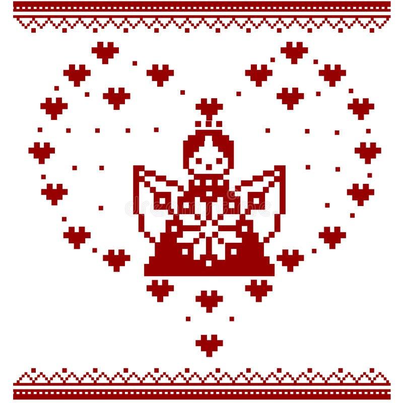 Ange Ange d'art de pixel cupidon Point croisé illustration libre de droits
