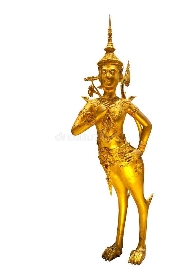 Ange d'or (Kinnari) sur le fond blanc image libre de droits