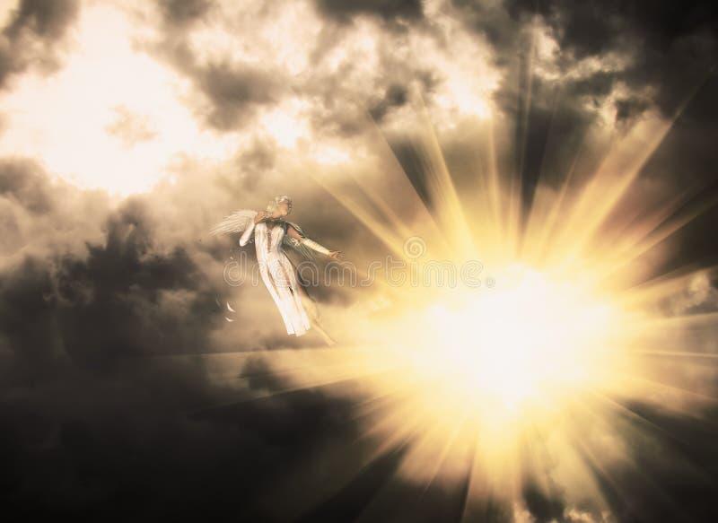 Ange dans le ciel foncé illustration de vecteur