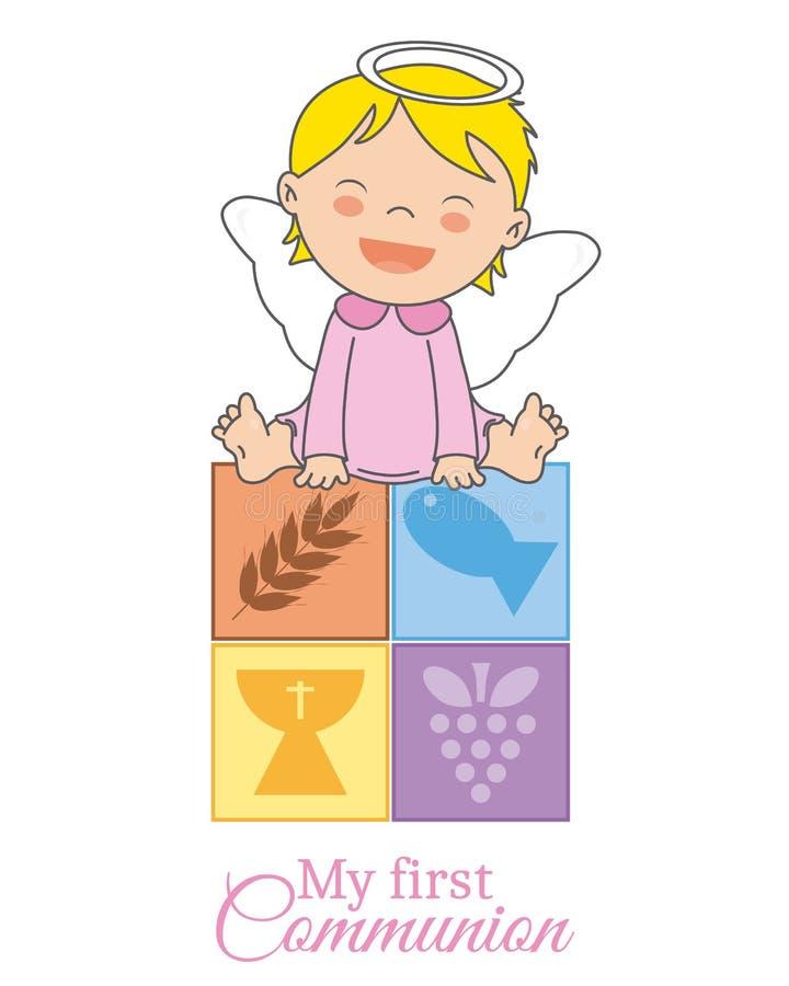 Ange de bébé se reposant sur les icônes religieuses illustration de vecteur
