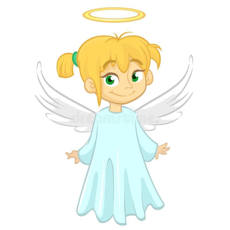 Ange de bande dessinée Illustration de Vecor d'ange de fille de vol pour la décoration holyday de Noël Conception pour la copie illustration libre de droits
