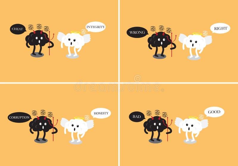 Ange de cerveau et discussion de bande dessinée de diable de cerveau illustration stock