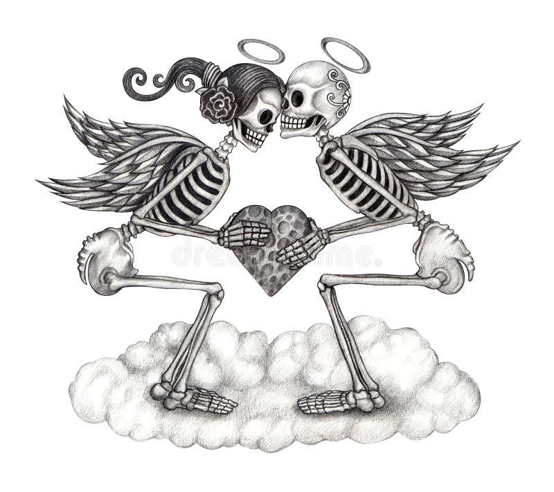 Ange de cupidon de crâne d'art illustration libre de droits