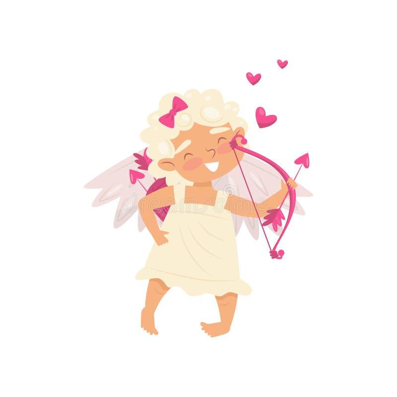 Ange de l'amour avec le visage heureux Bébé adorable avec le tir à l'arc à disposition Petit cupidon avec des ailes Icône plate d illustration libre de droits