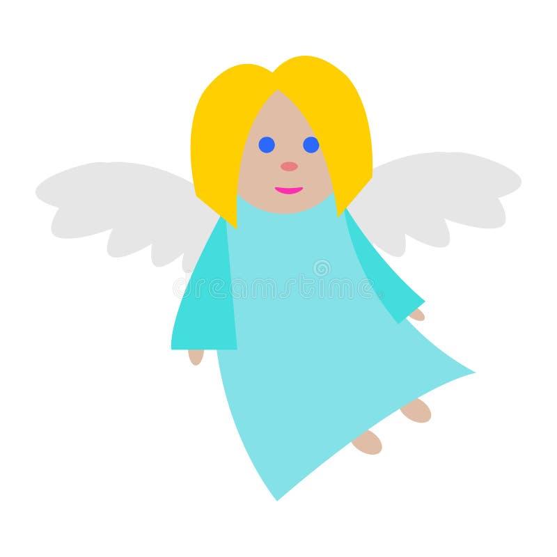Ange de Noël Vêtements bleus Longues ailes blanches illustration de vecteur
