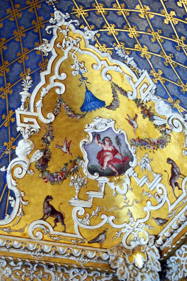 Ange de Palazzo Madama de palais royal de Taly Turin au plafond de la pièce de Four Seasons image libre de droits
