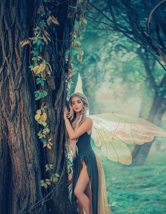 Ange doux de forêt, nymphe avec les cheveux blancs épais parfaits dans l'image de l'esprit rêveur avec des ailes de papillon fée  photographie stock libre de droits