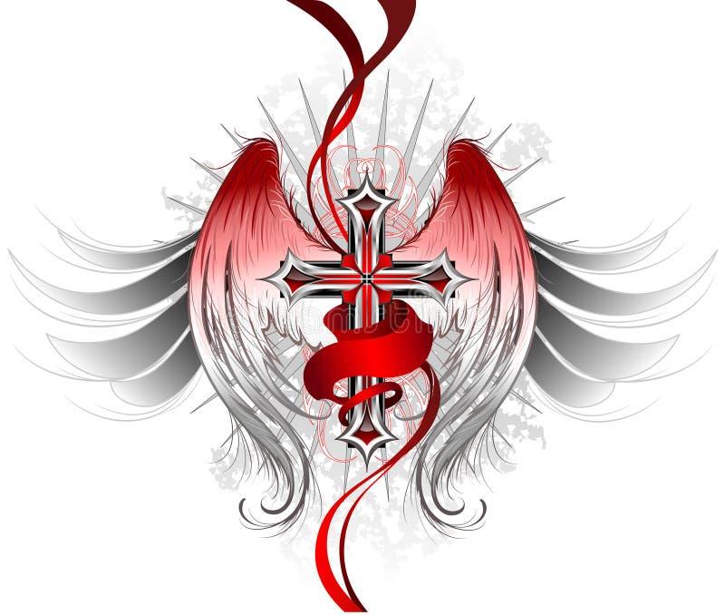 Ange en travers gothique illustration de vecteur