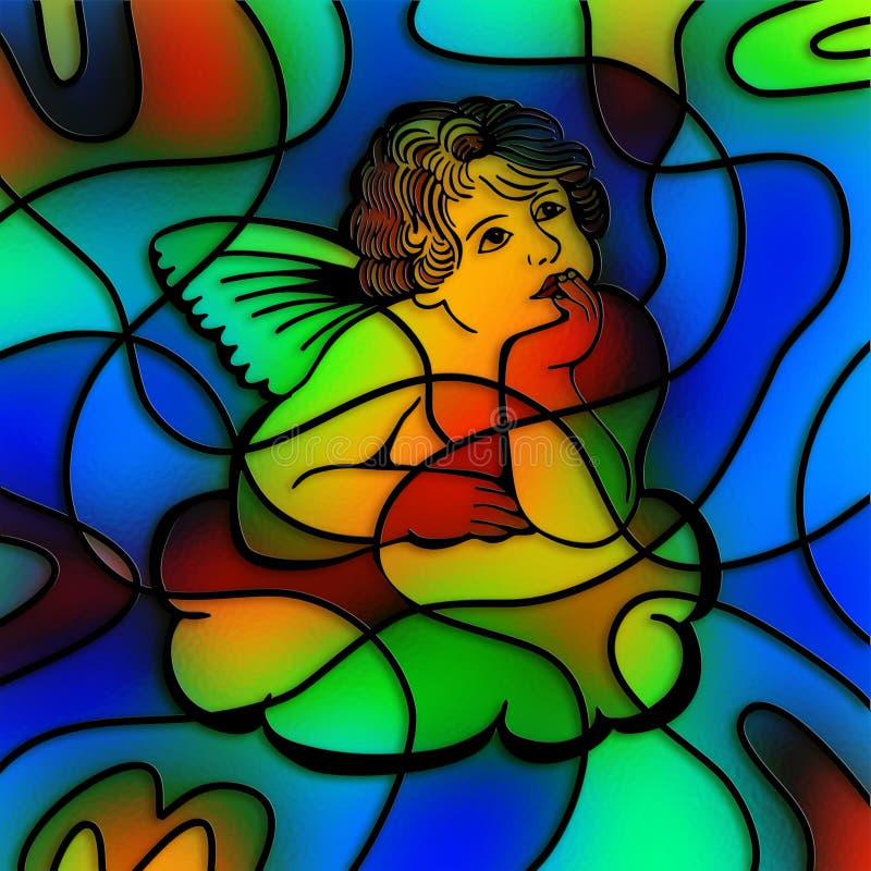 Ange en verre souillé illustration stock