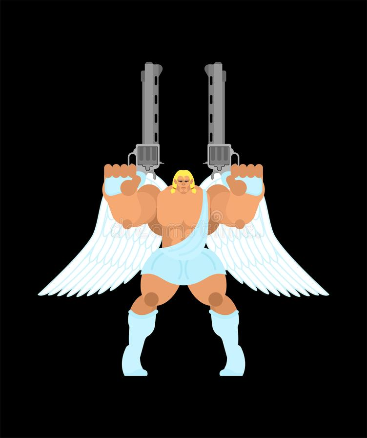 Ange gardien et arme à feu Archange de guerrier r illustration de vecteur