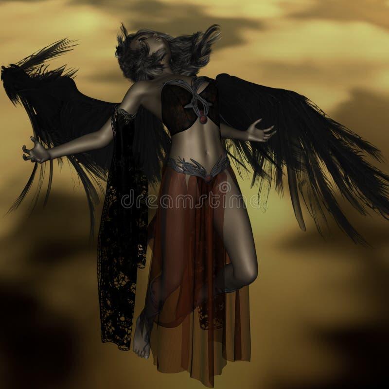 Ange inconsolable tombant du ciel à l'enfer illustration libre de droits