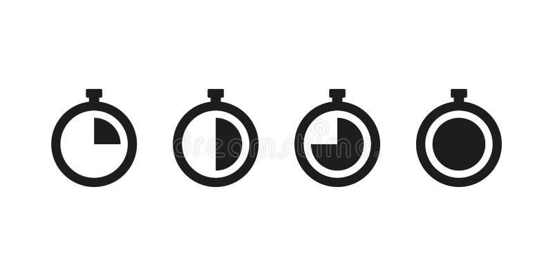 Ange isolerade symboler för timer Urvalselement Minut-begrepp stock illustrationer