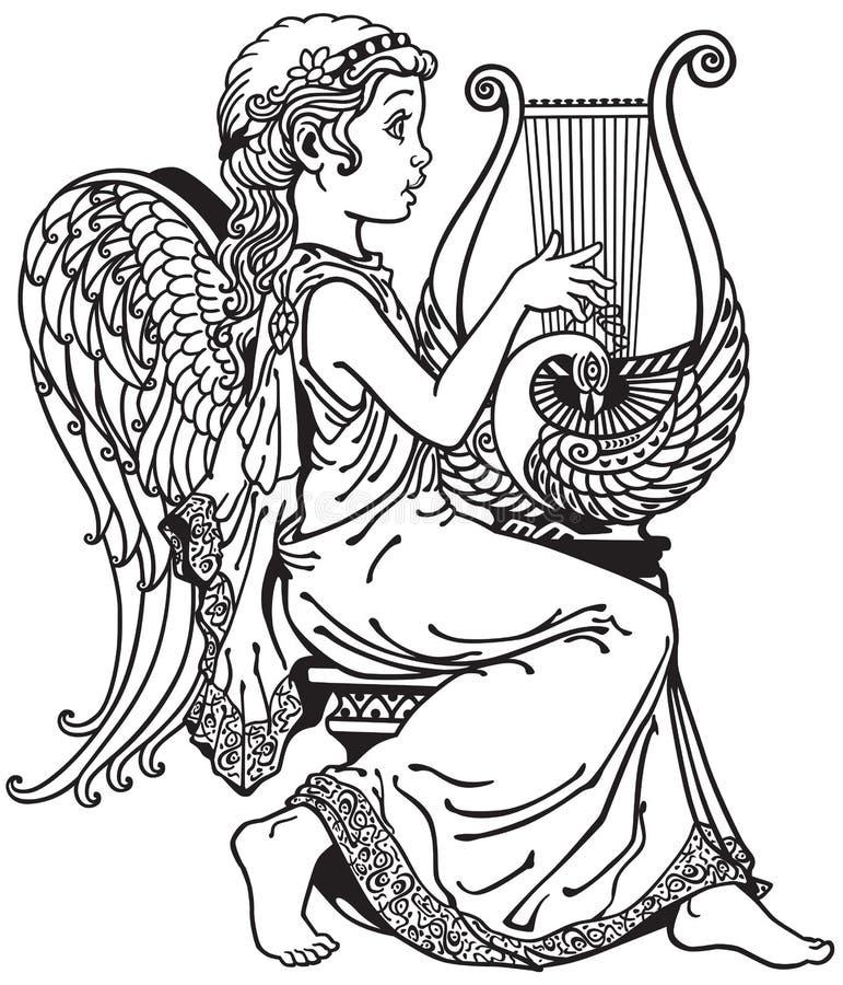 Ange jouant la lyre illustration de vecteur