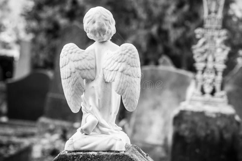 ange lapidé dans un cimetière image stock