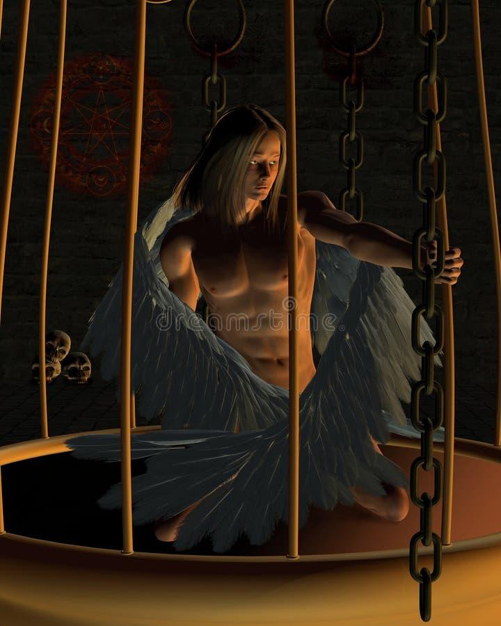 Ange mâle mis en cage dans un Dungeon foncé illustration stock