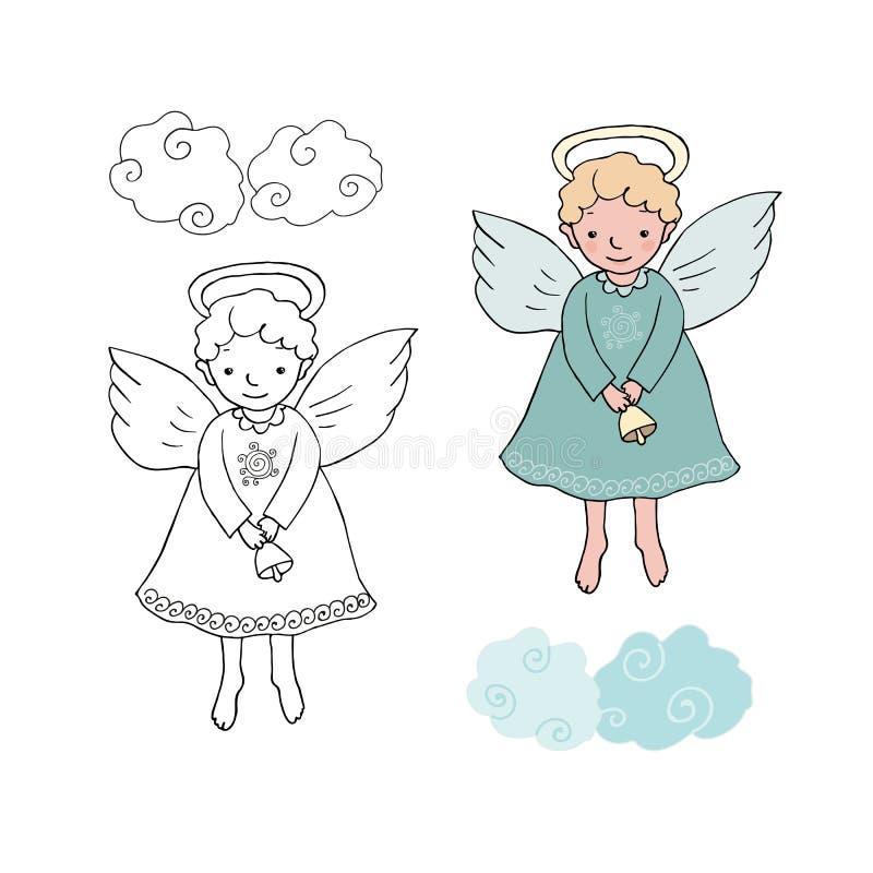 Ange mignon de Noël avec la cloche dans le style de bande dessinée illustration de vecteur
