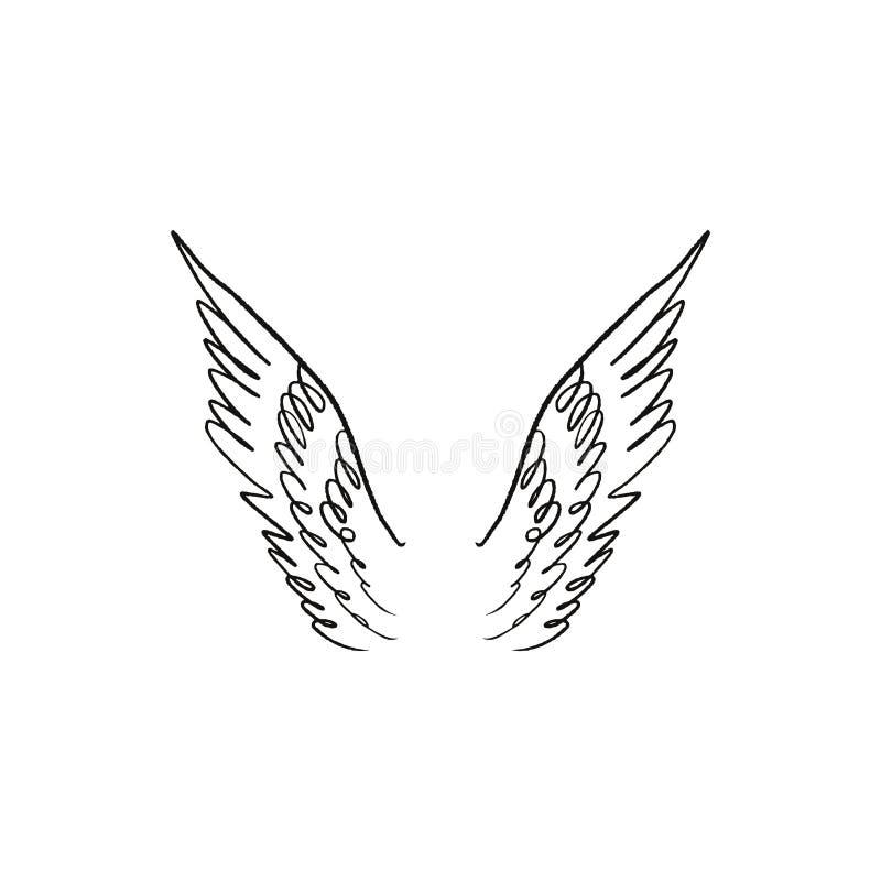 Ange, oiseau ou ailes de Pegasus Élément de cru Illustration d'imagination Tatouage ou autocollant provisoire illustration stock
