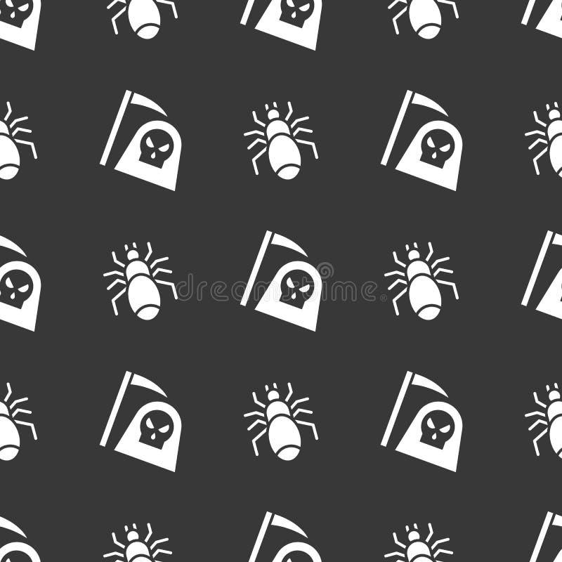 Ange ou mort et araignée, modèle sans couture de Halloween, desi plat illustration de vecteur