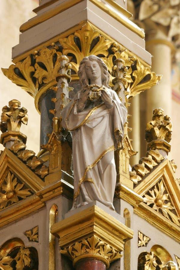 Ange, statue sur l'autel principal dans la cathédrale de Zagreb photo stock