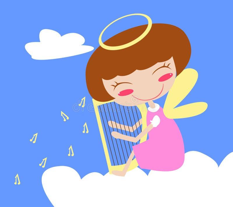 Ange sur le nuage avec l'harpe illustration libre de droits